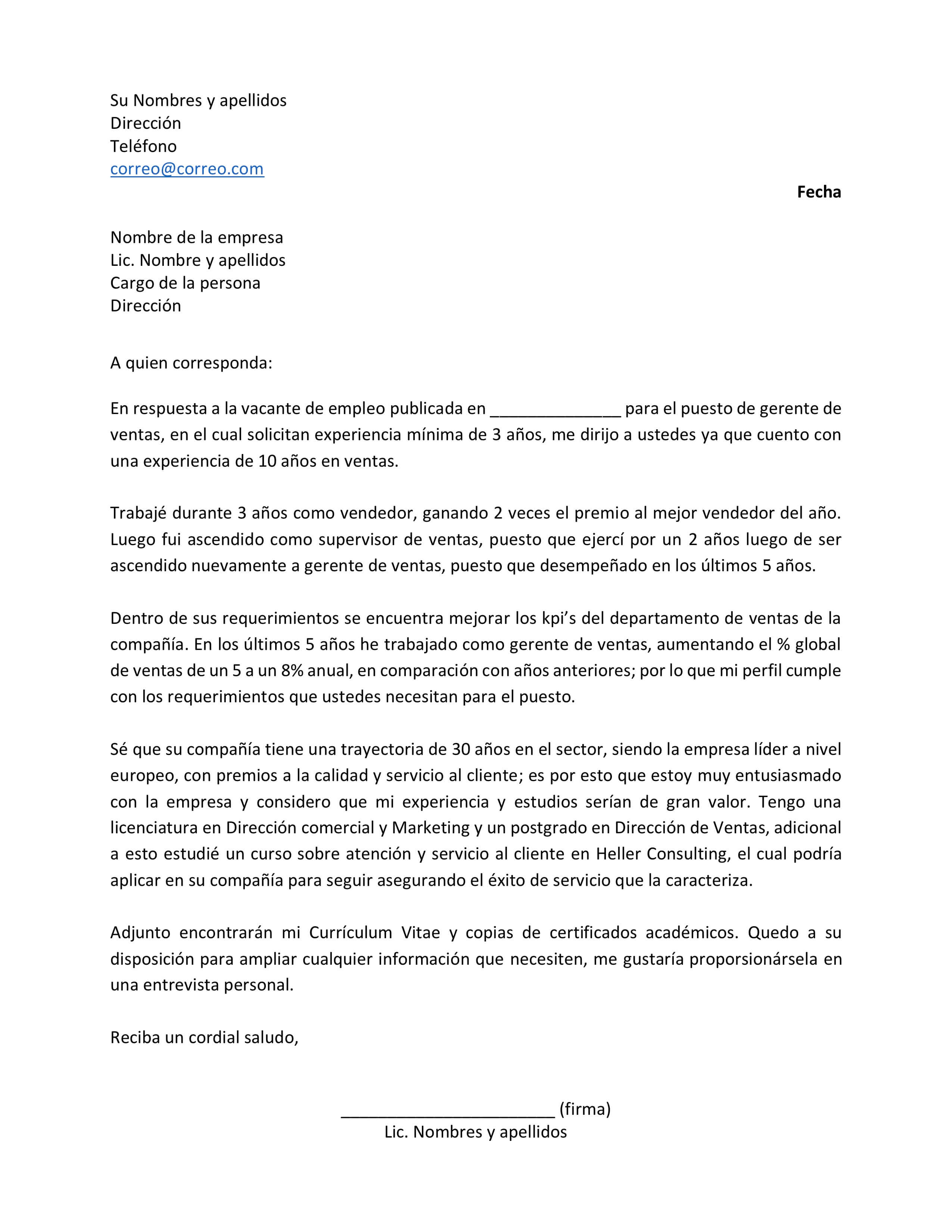 Carta De Presentacion Laboral Crear Un Curriculum Vitae