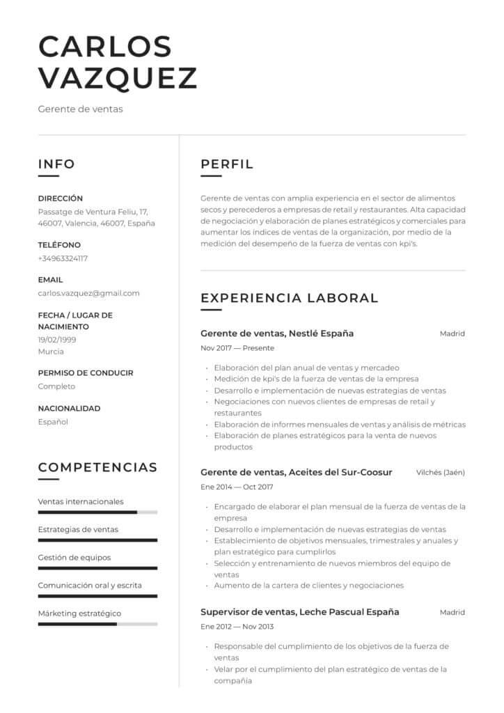 Ejemplo de Currículum
