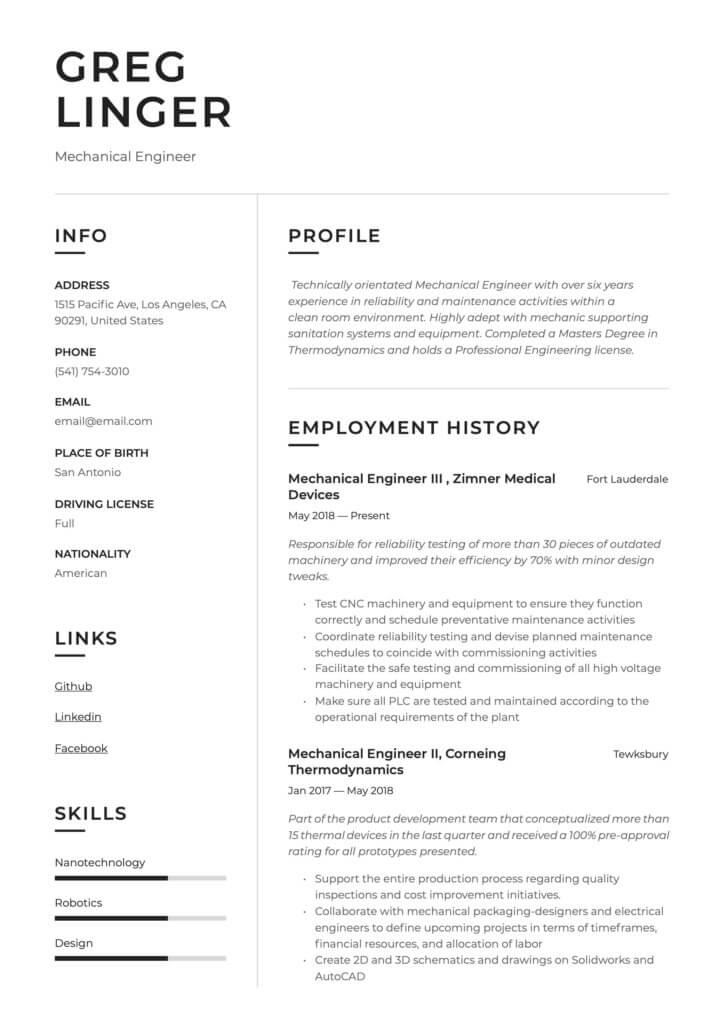 Ejemplo Currículum en inglés