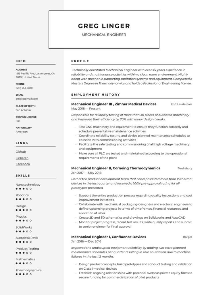 Ejemplo de CV en inglés