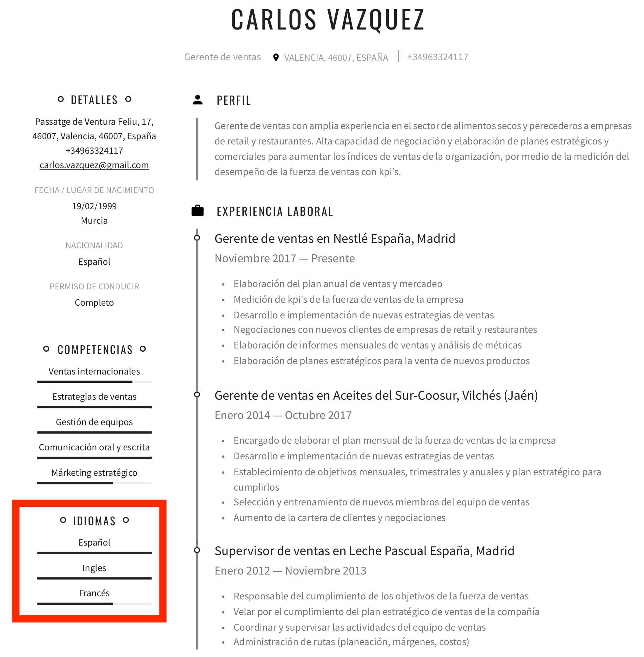 Nivel de idiomas en el CV