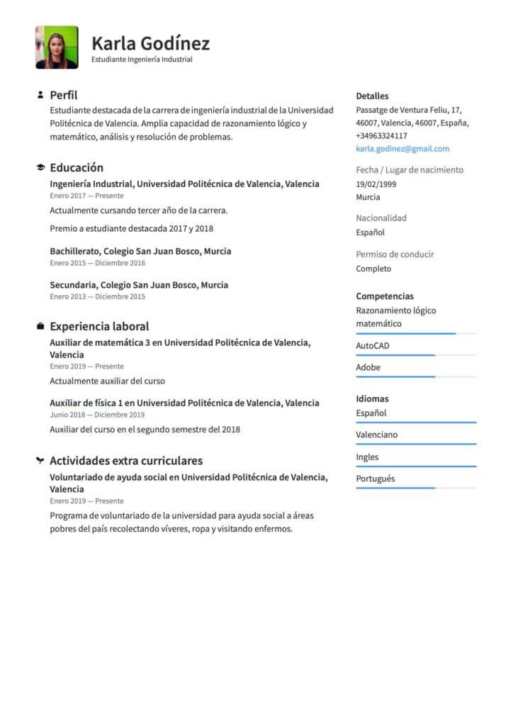 Currículum para prácticas profesionales