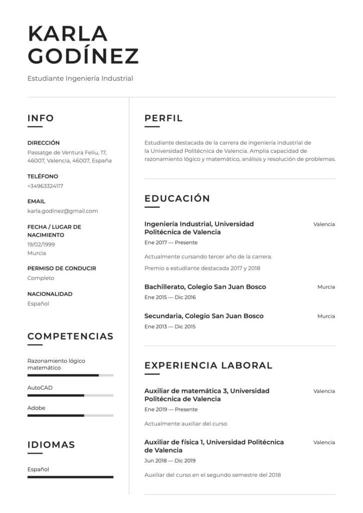 Modelo de CV para prácticas profesionales