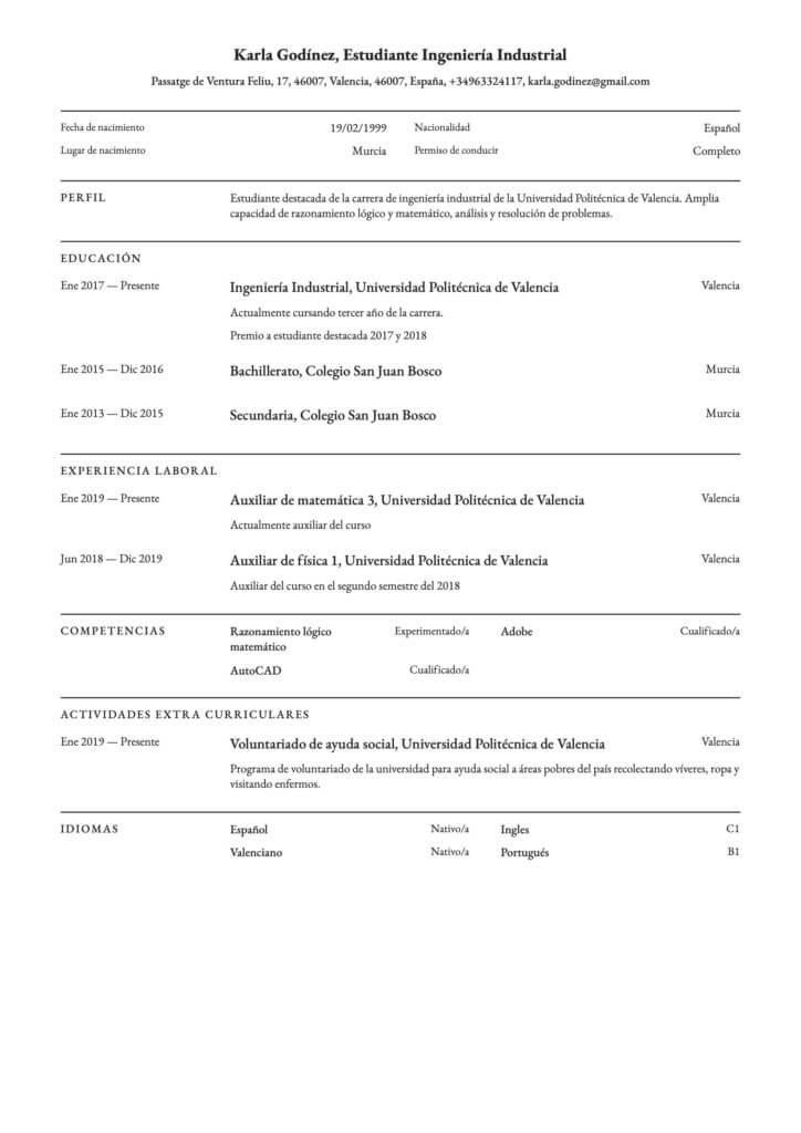 Plantilla de CV para prácticas profesionales