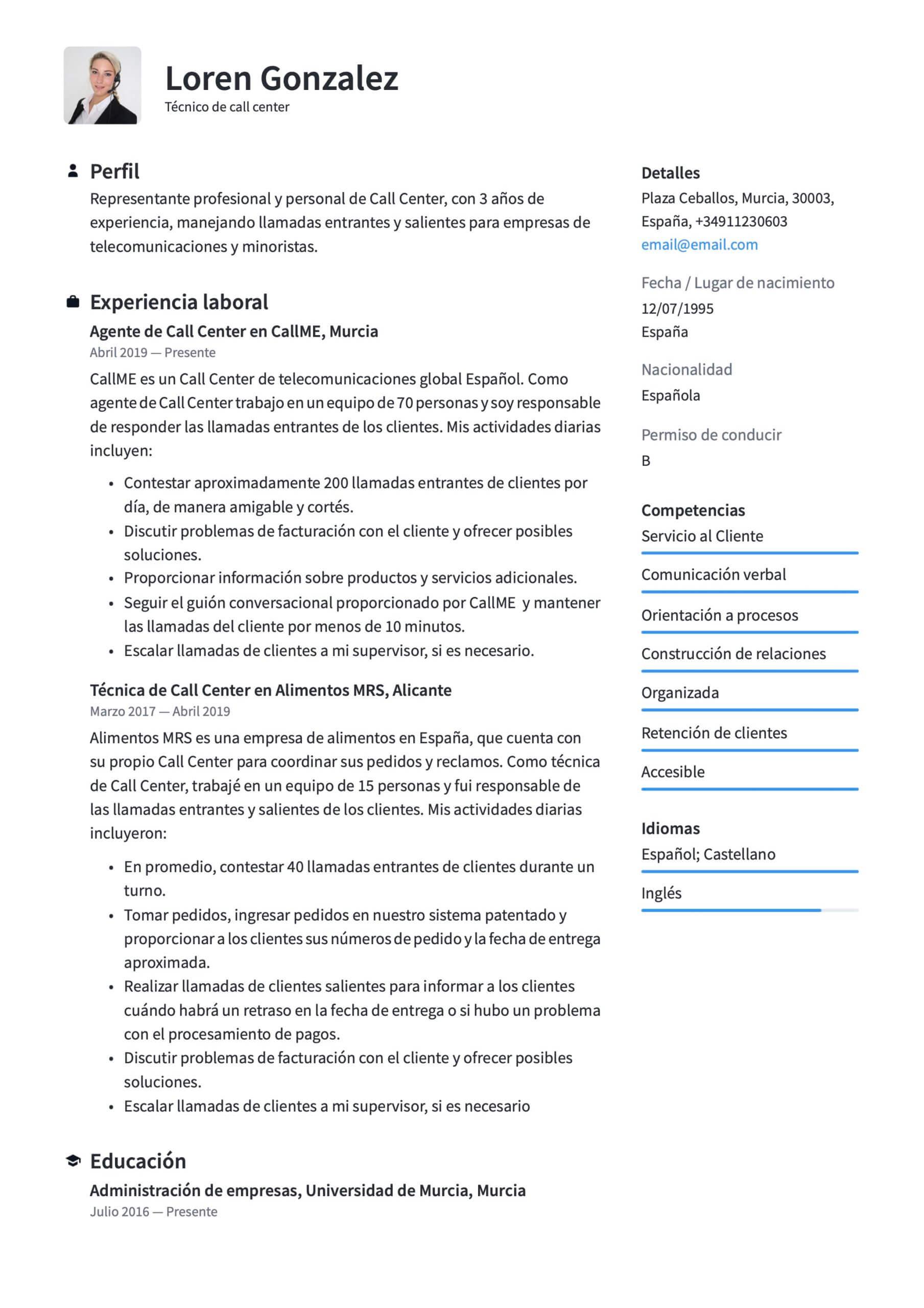 Currículum Para Técnico De Call Center 18 Plantillas Crea Tu Cv Gratis