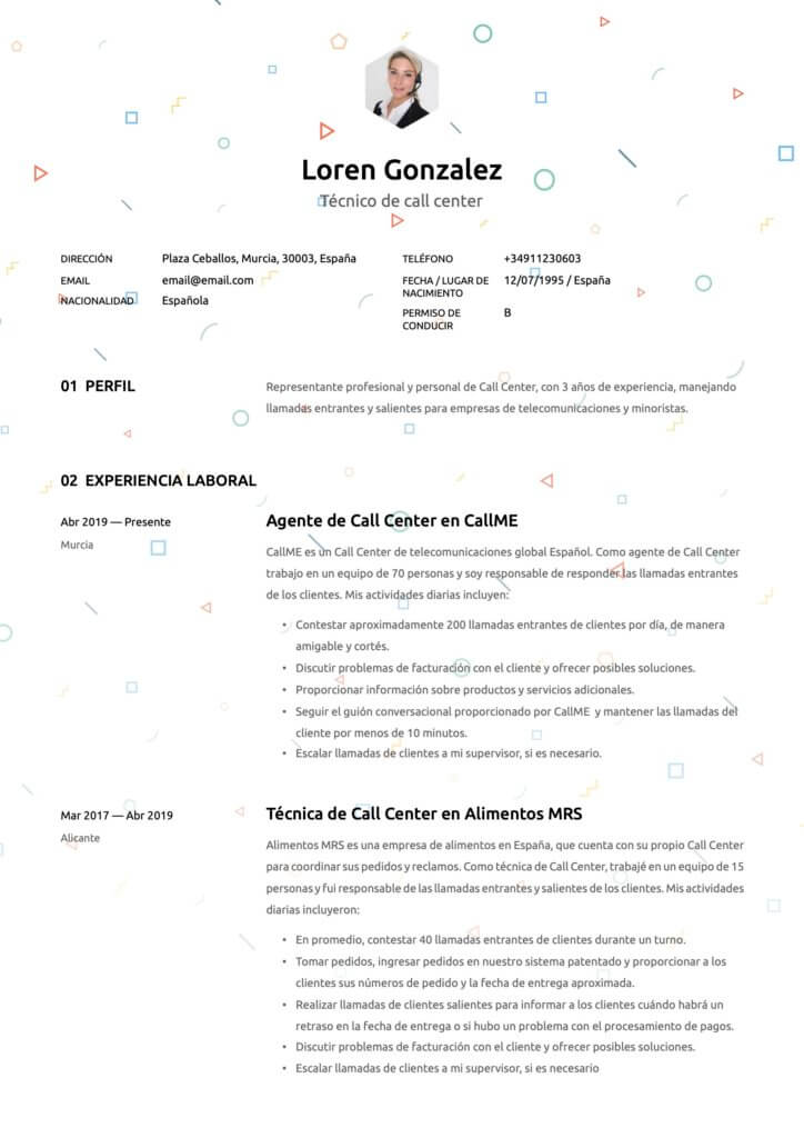 Plantilla de CV para técnico de Call Center