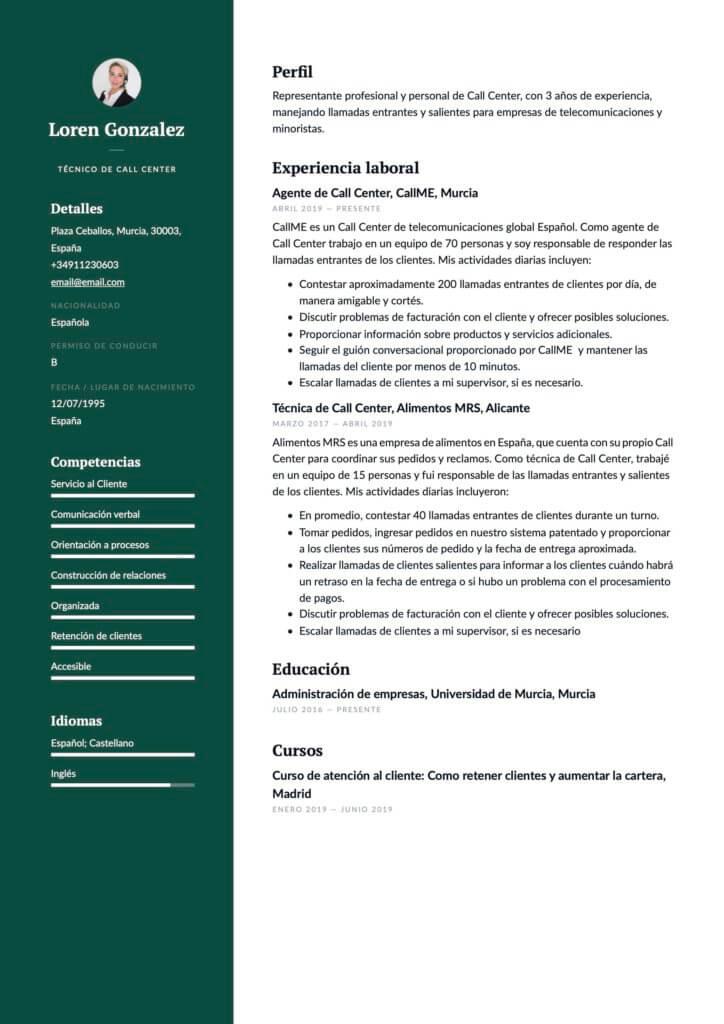 Ejemplo de CV para técnico de Call Center