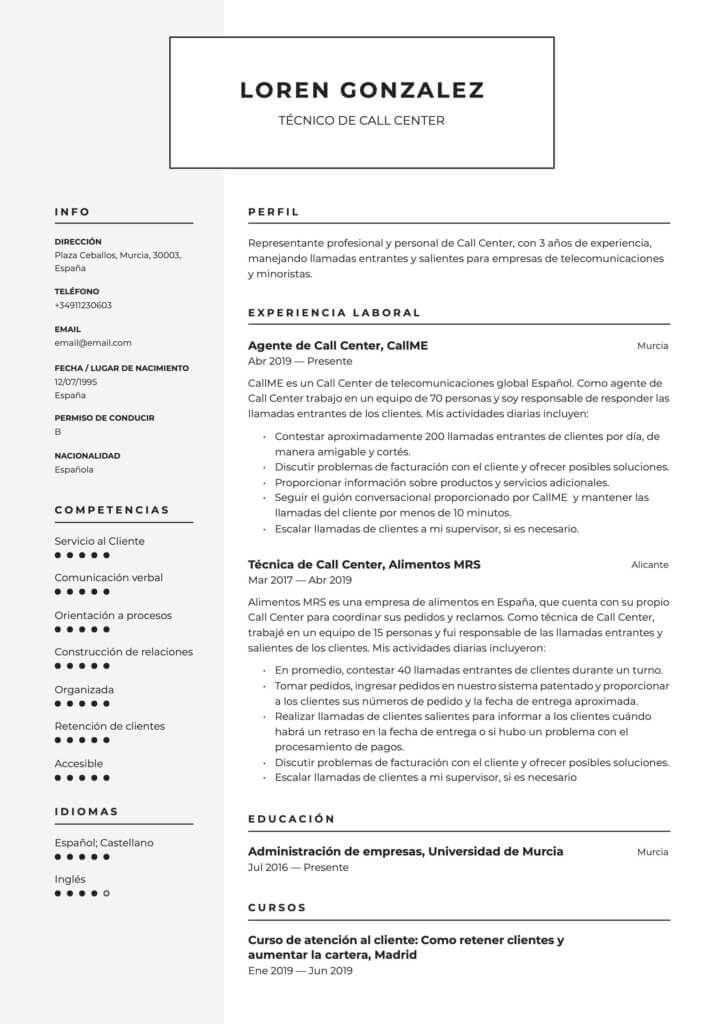 Modelo de CV para técnico de Call Center