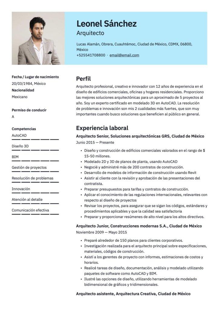 Plantilla de CV para arquitecto