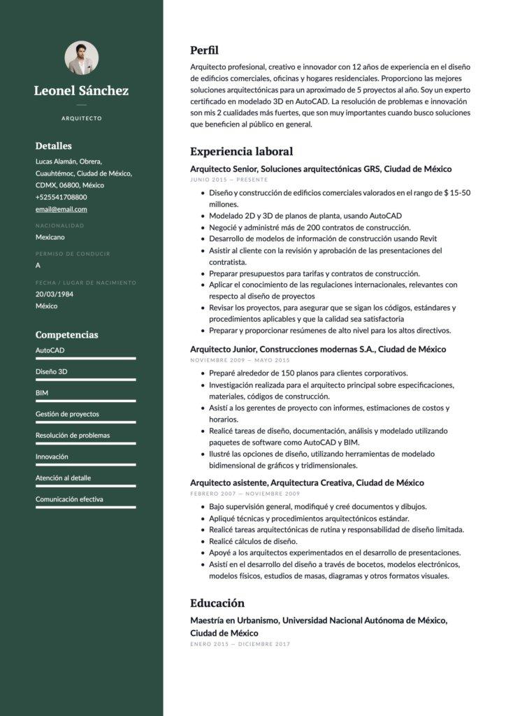 Ejemplo de CV para arquitecto