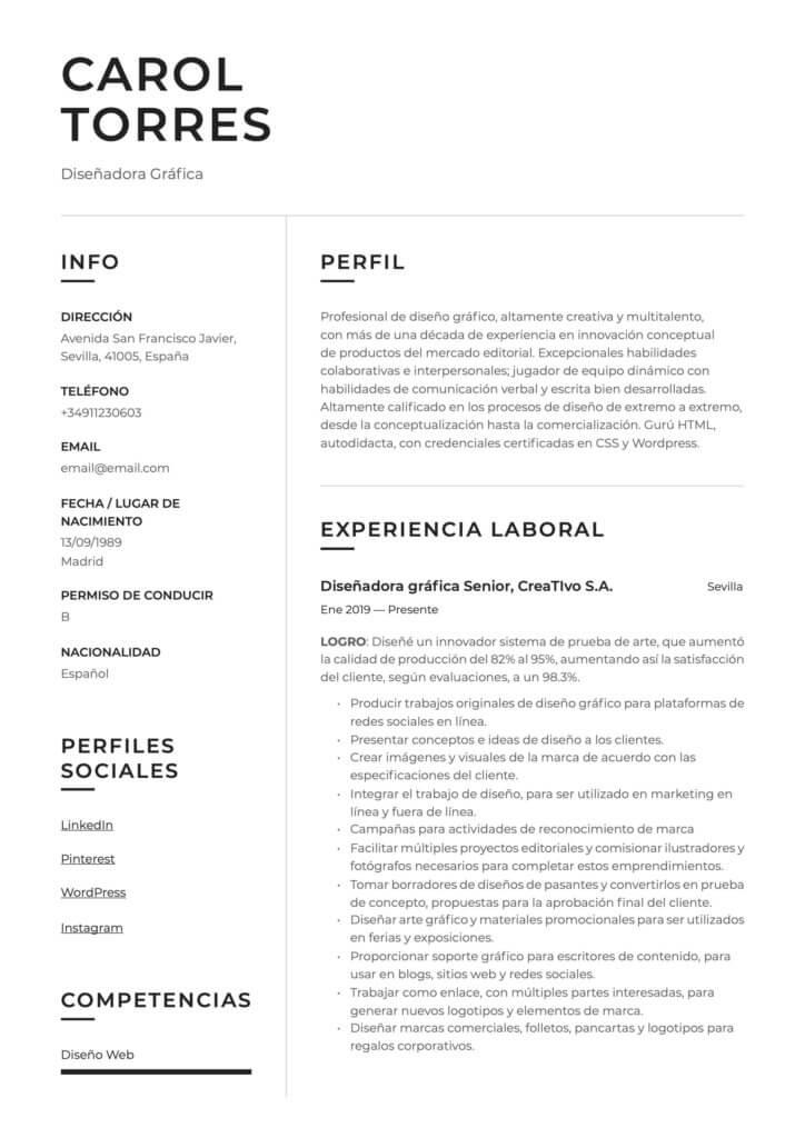 Ejemplo de CV para diseñador gráfico