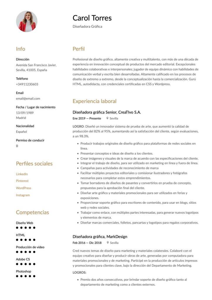 Currículum para diseñador gráfico