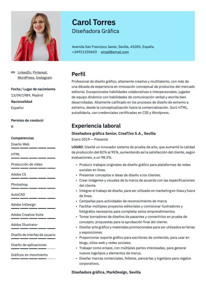 Plantilla de CV para diseñador gráfico