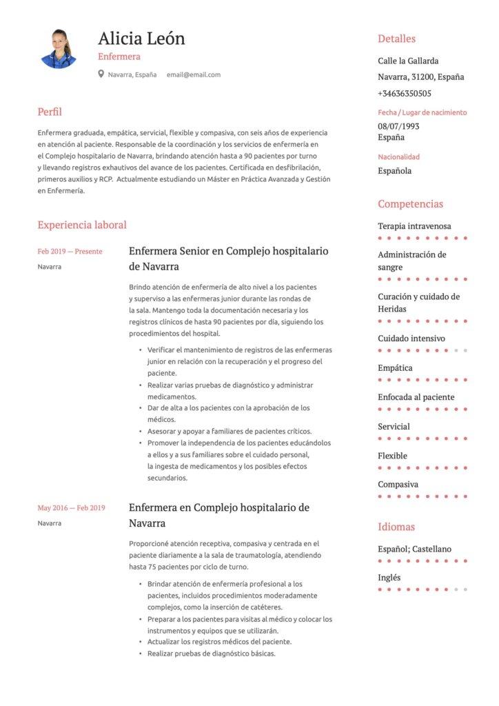 Ejemplo de CV para enfermera