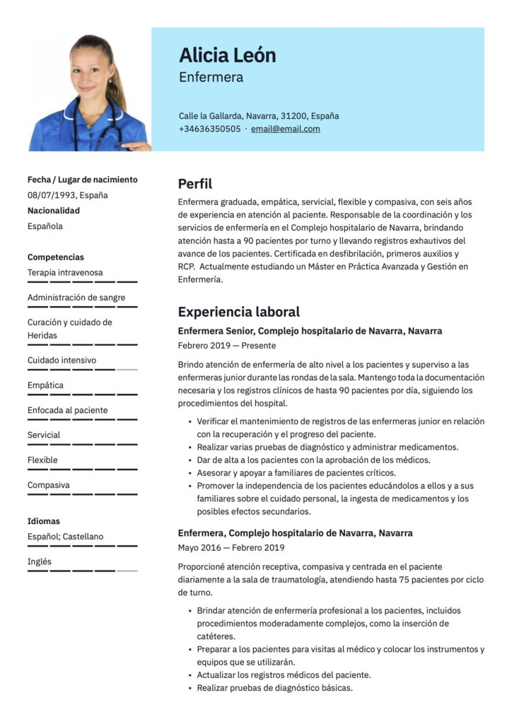 Plantilla de CV para enfermera