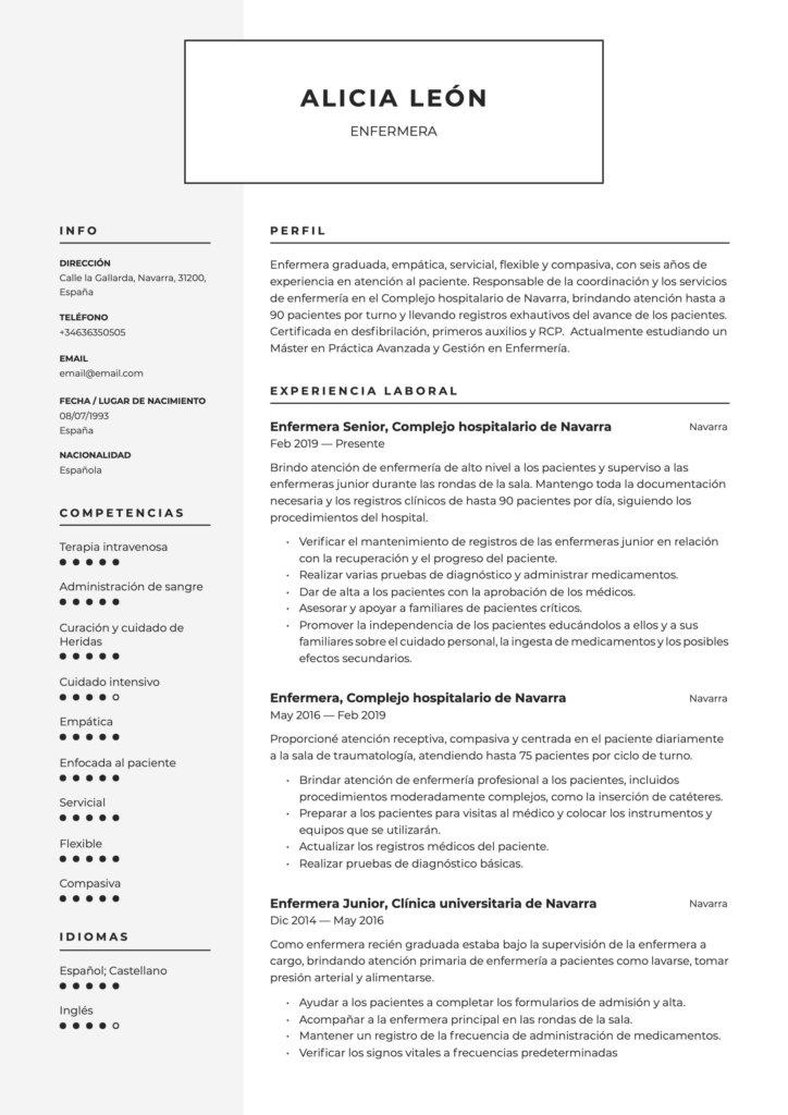 Modelo de CV para enfermera