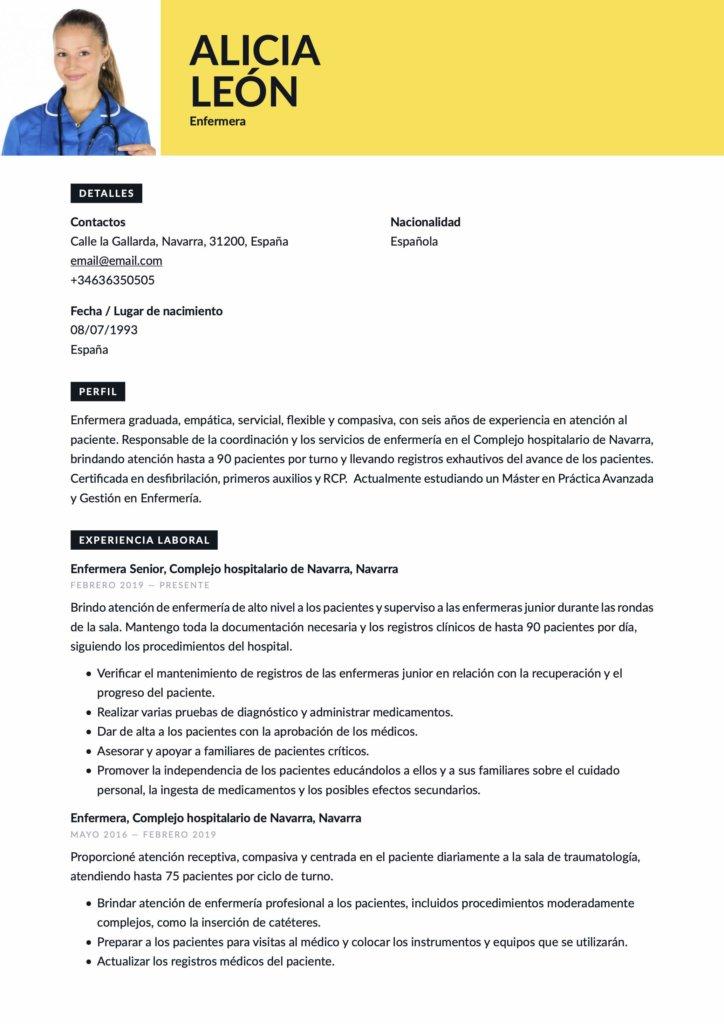 Currículum para enfermera
