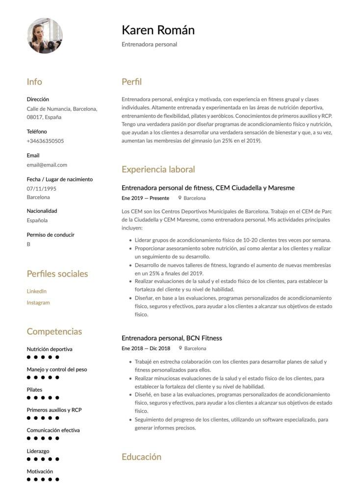Currículum para entrenador personal