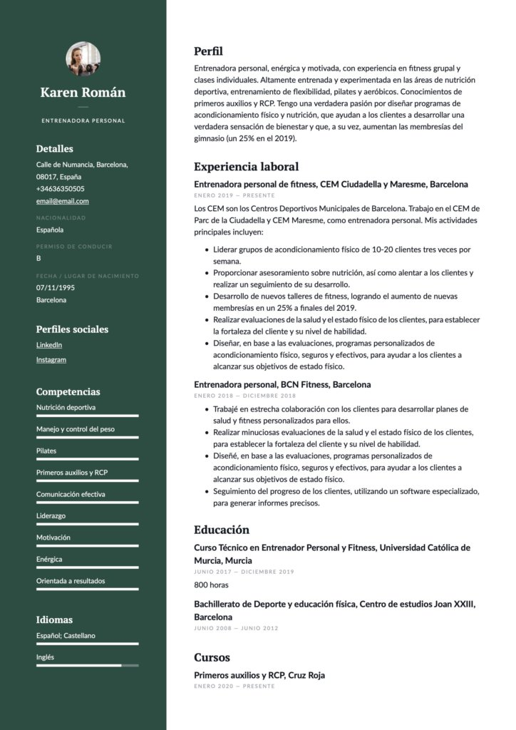 Ejemplo de CV para entrenador personal