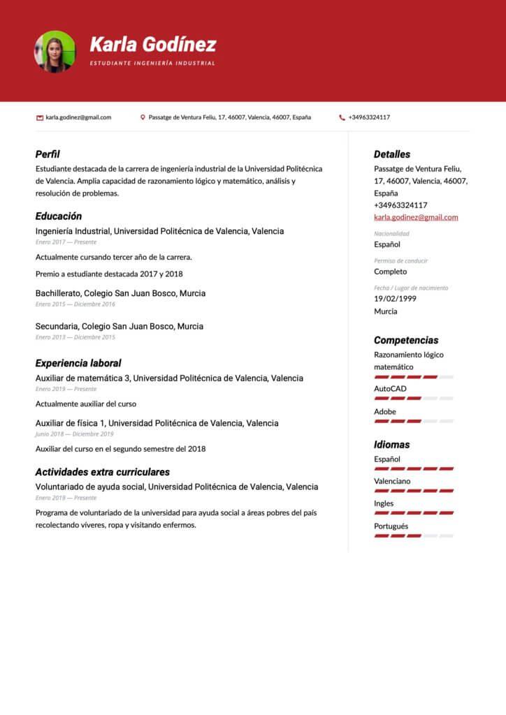 Modelo de CV estudiante sin experiencia