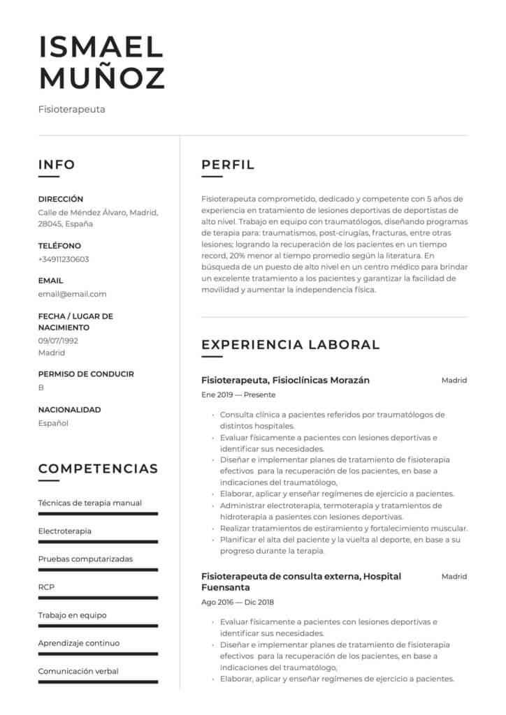 Ejemplo de CV para fisioterapeuta
