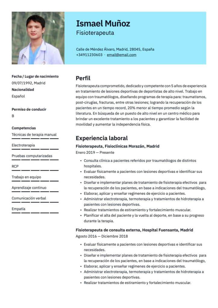 Plantilla de CV para fisioterapeuta