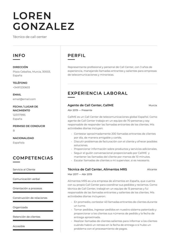 Ejemplo de CV moderno