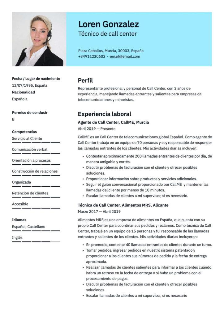 Ejemplo de CV profesional