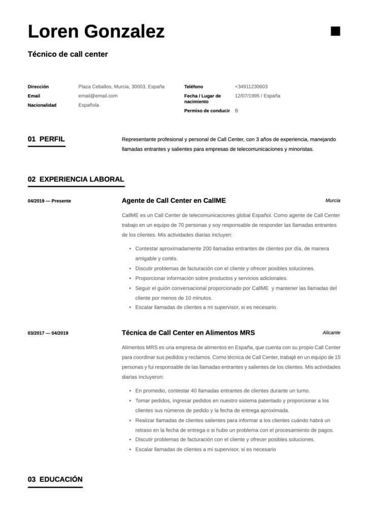 Modelo de CV simple