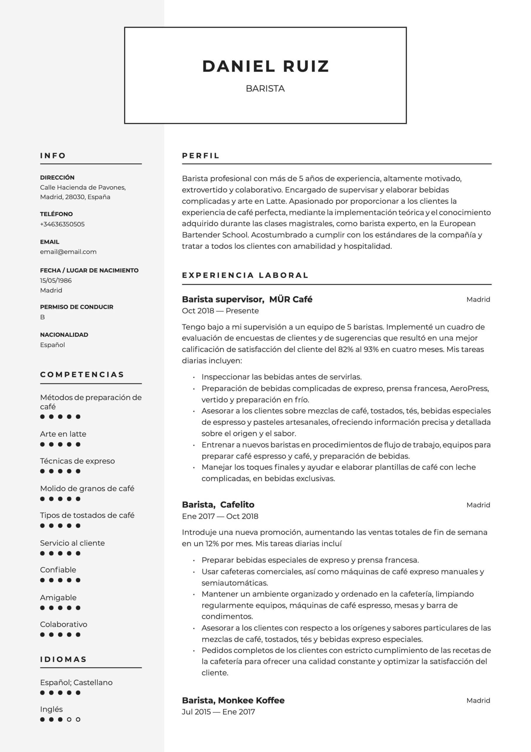 Modelo de CV para barista