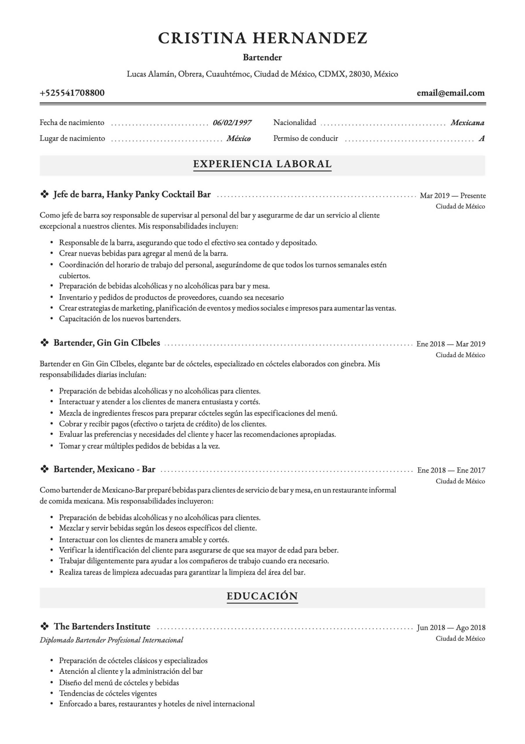 Ejemplo de CV para bartender