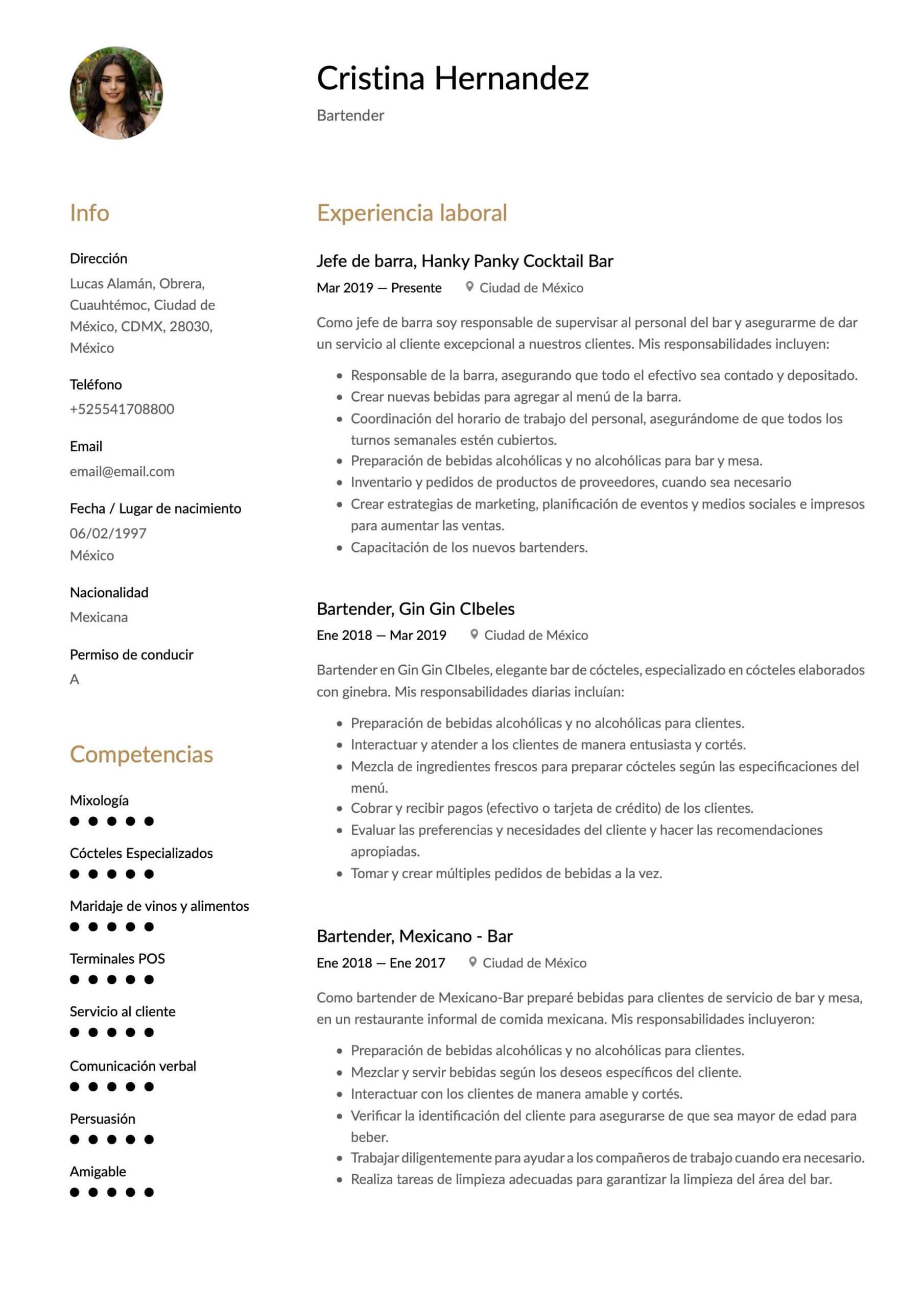 Currículum para bartender