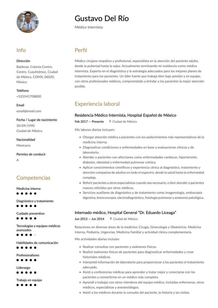 Modelo de CV para médico
