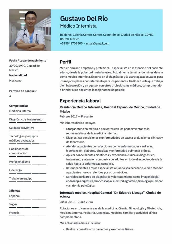Plantilla de CV para médico