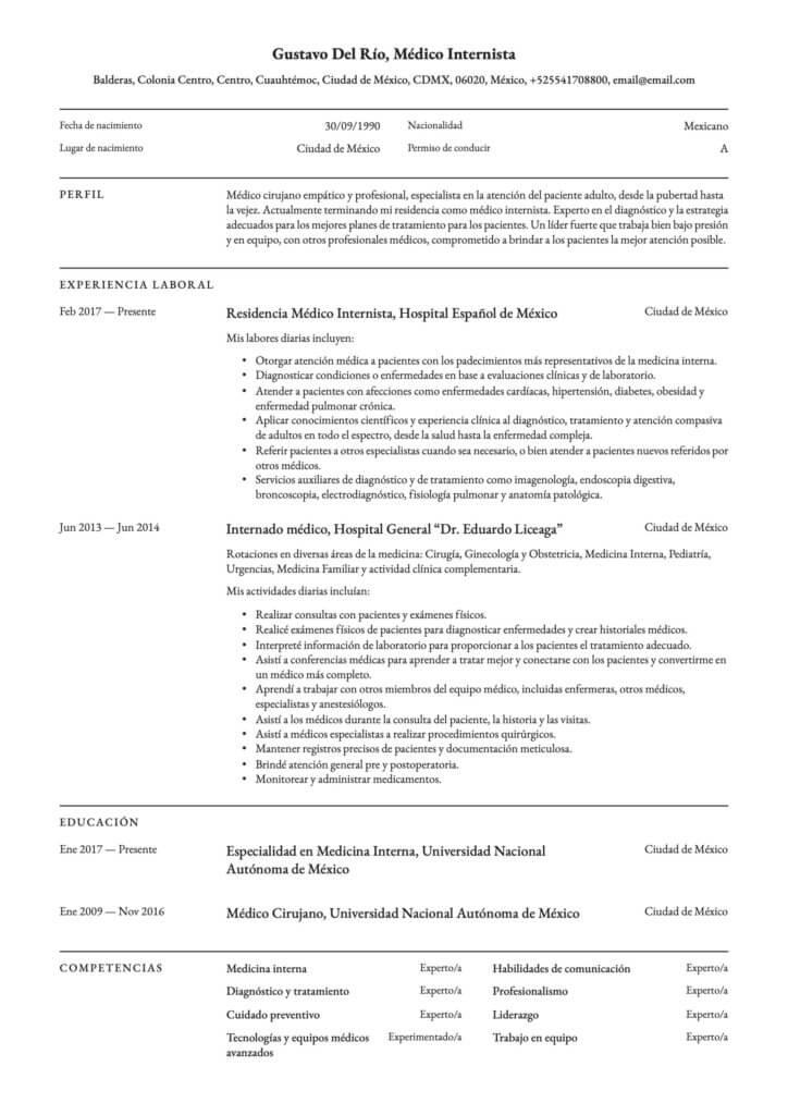 Currículum para médico