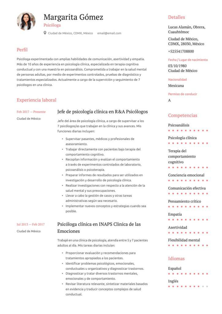 Ejemplo de CV para psicólogo