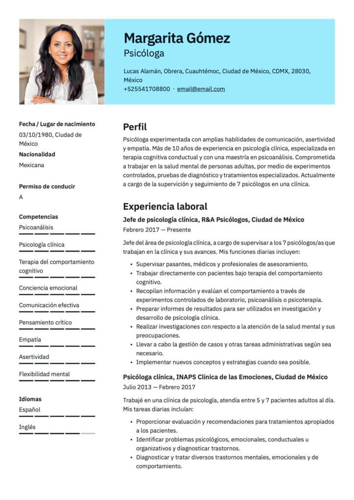 Plantilla de CV para psicólogo