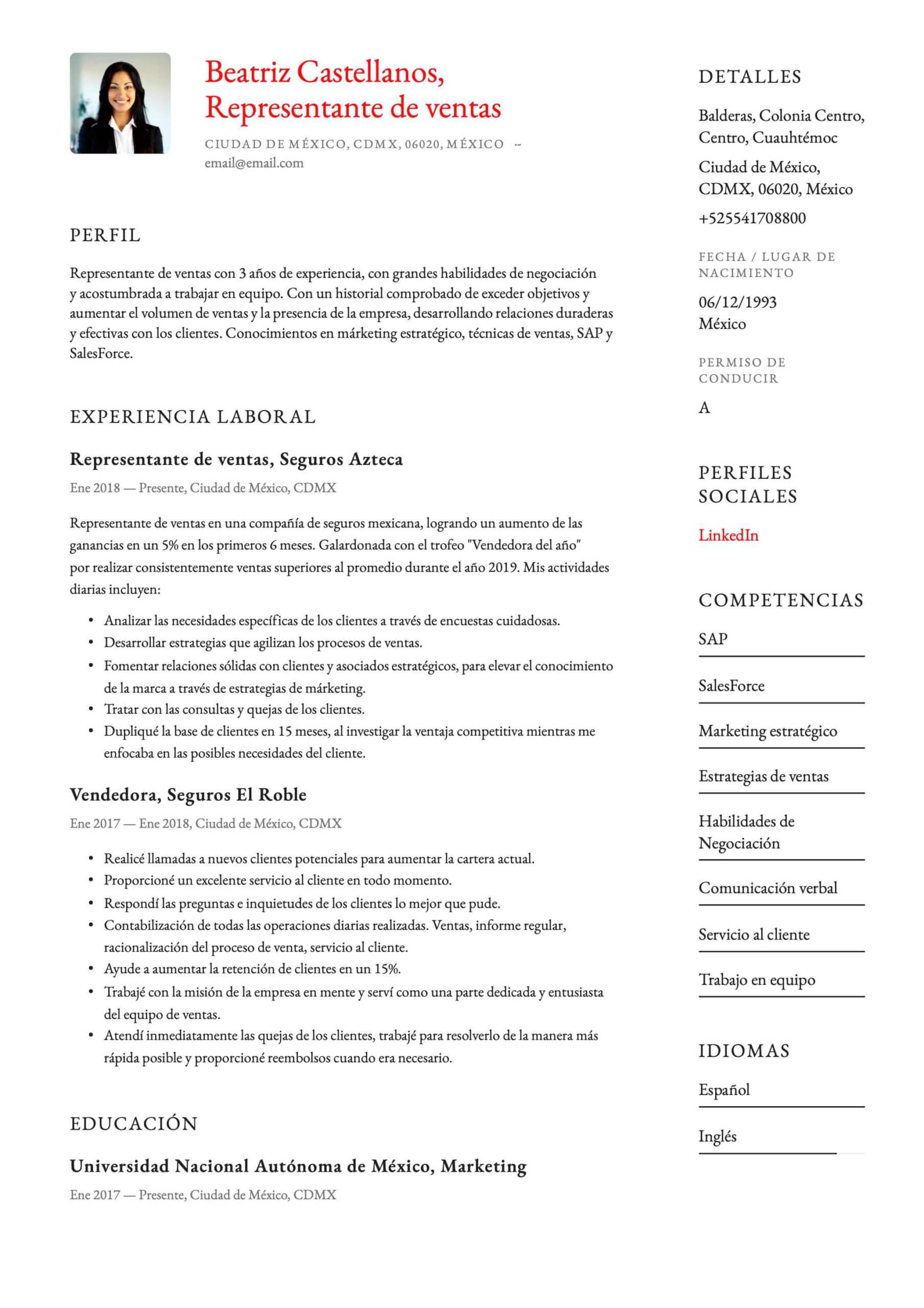 Currículum para Vendedor
