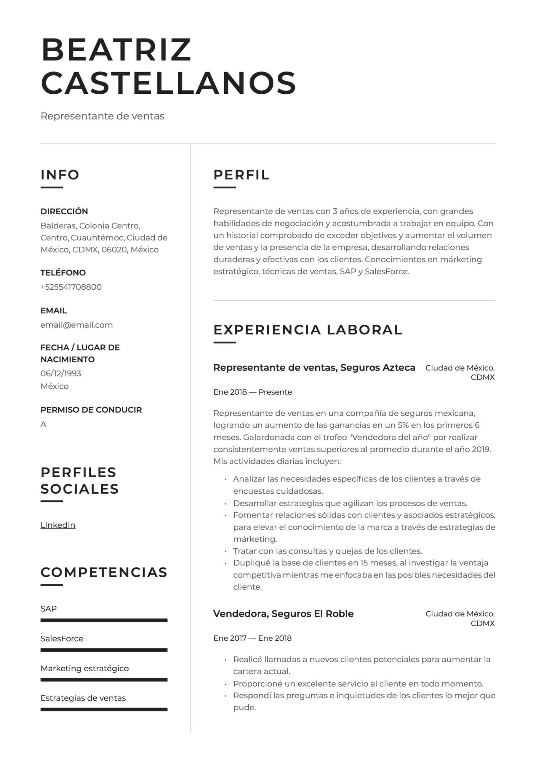 Ejemplo de CV para Vendedor