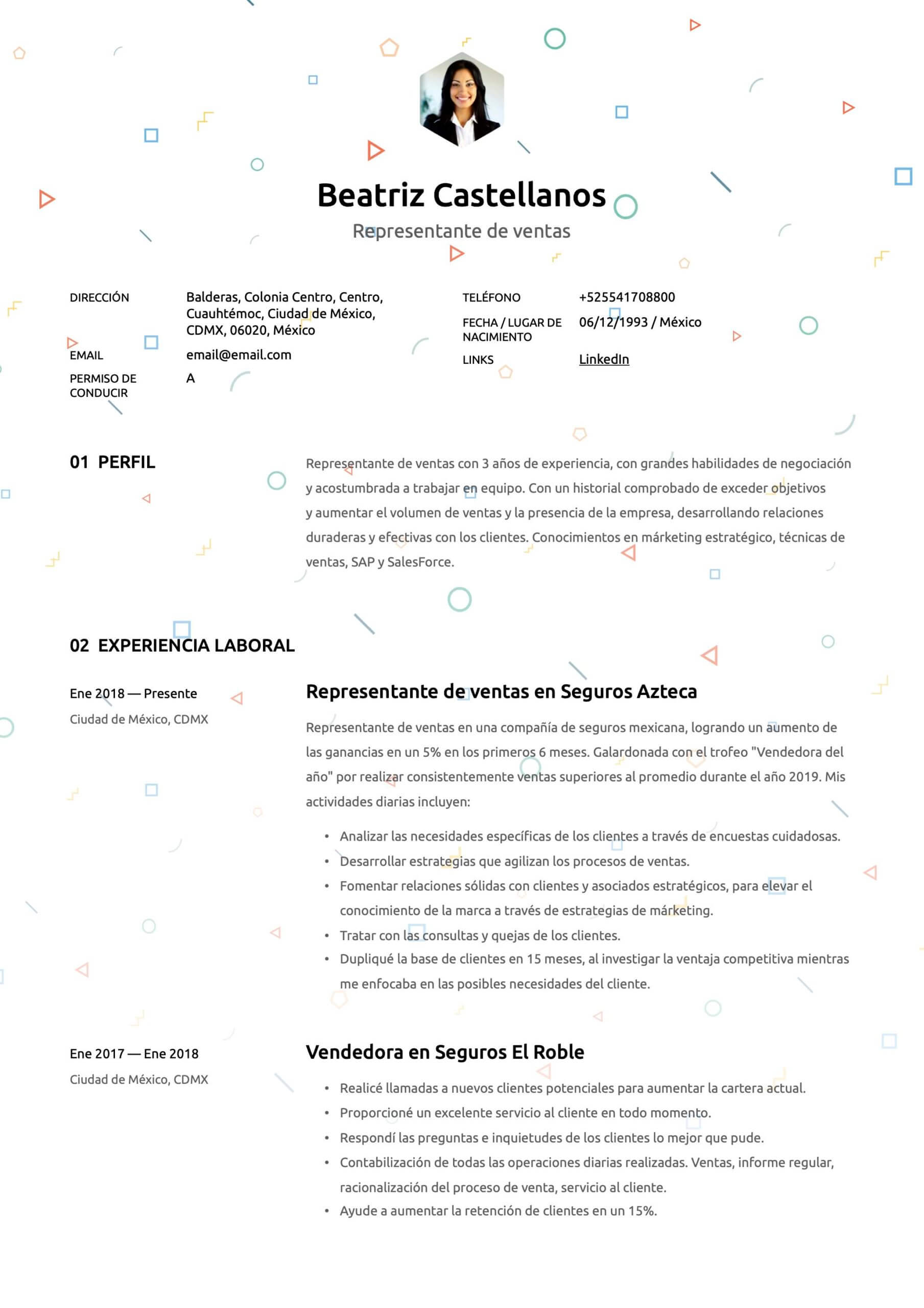 Plantilla de CV para Vendedor
