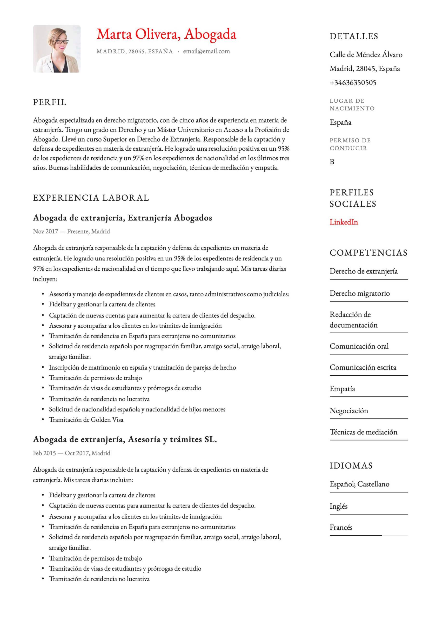 Currículum para Abogado