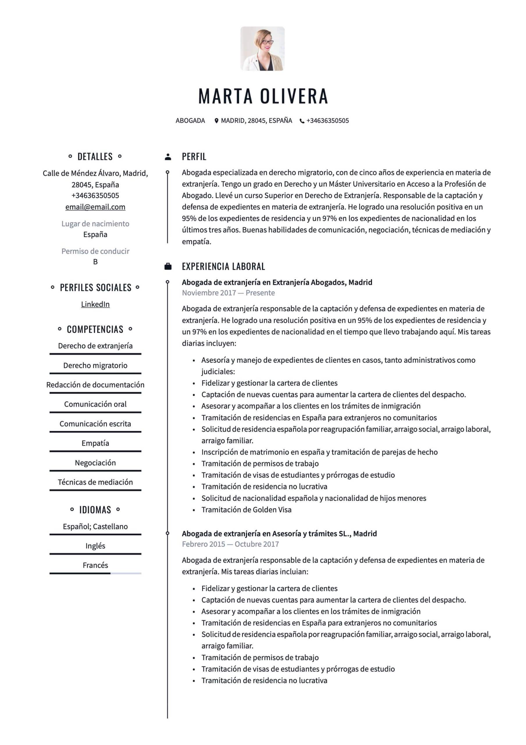 Ejemplo de CV para Abogado