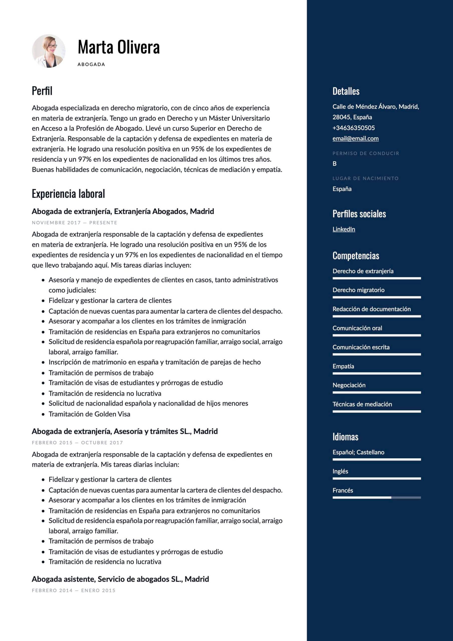Modelo de CV para Abogado