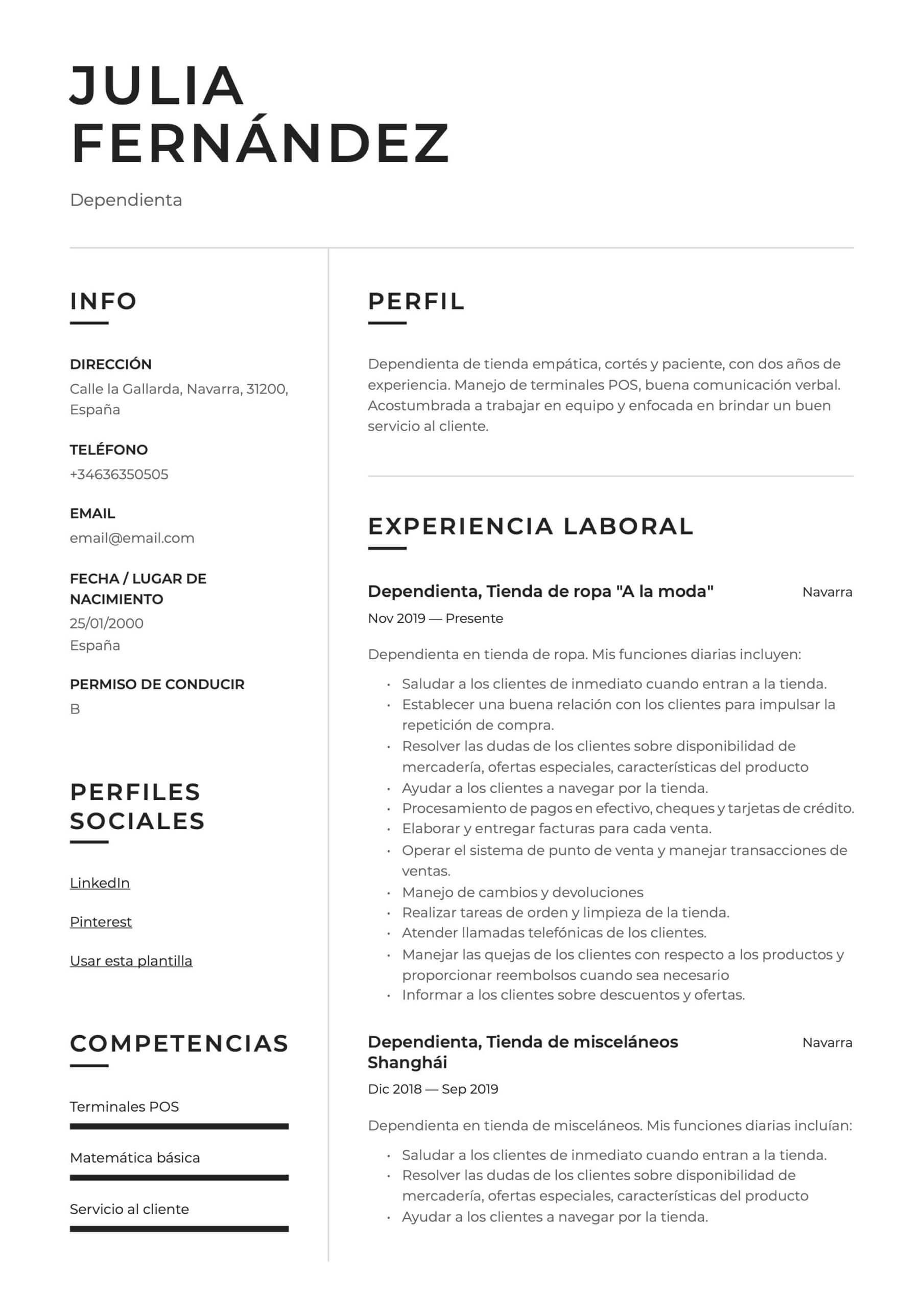 Ejemplo de CV para Dependienta