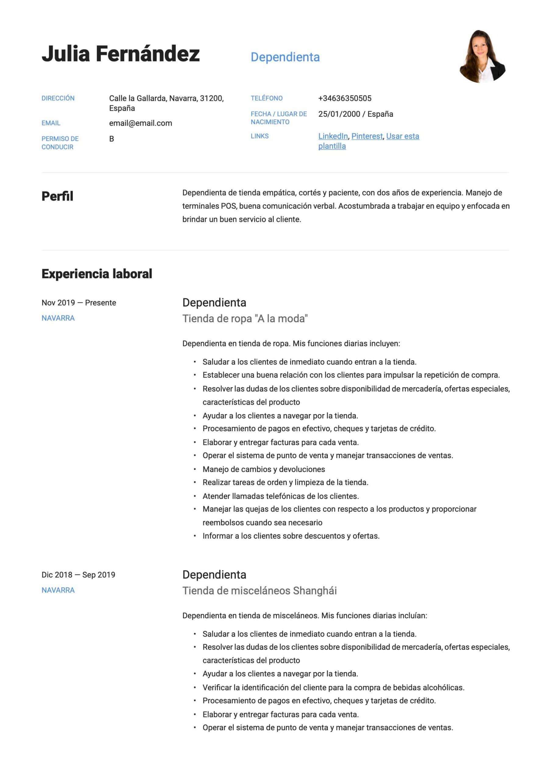 Modelo de CV para Dependienta