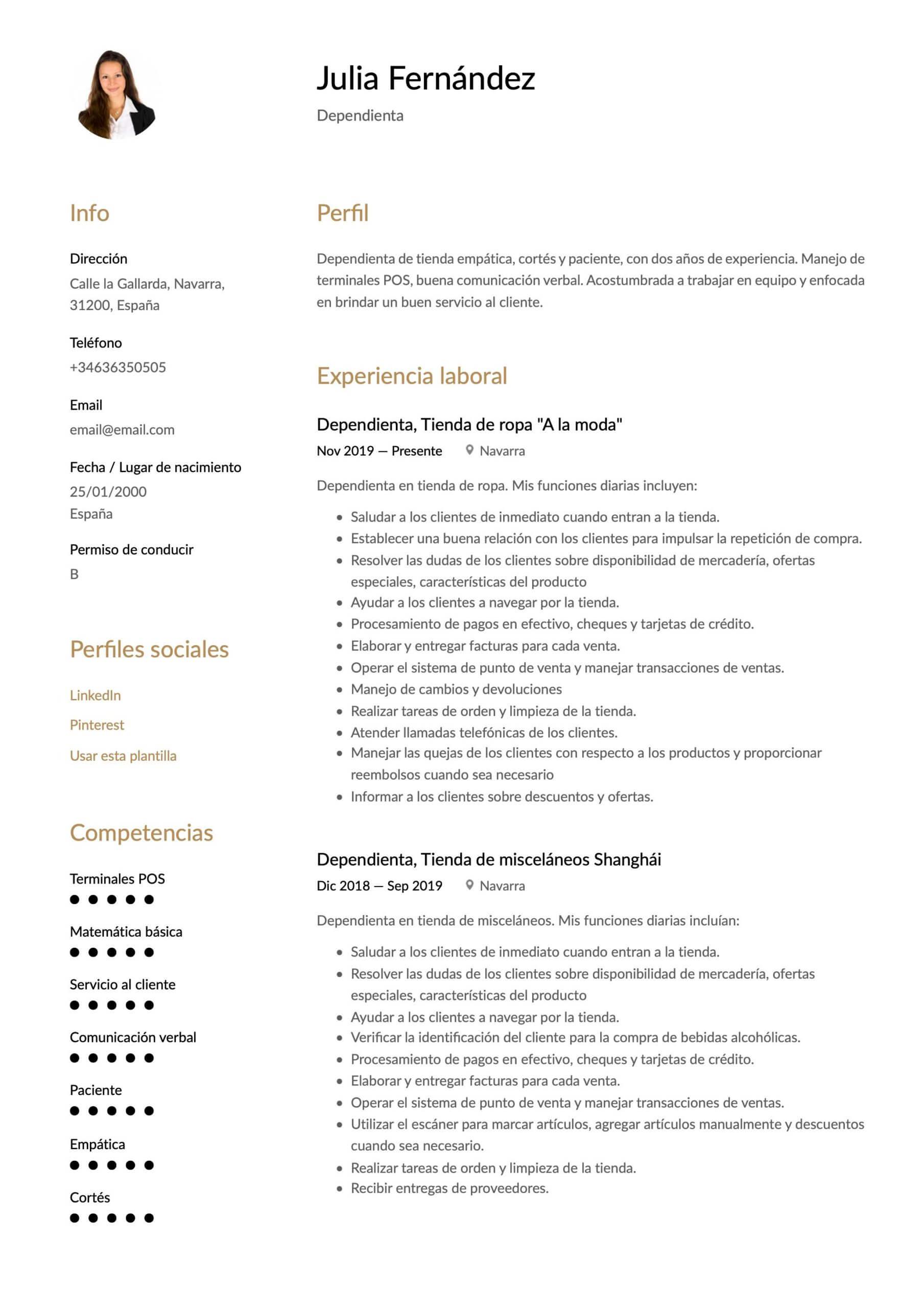 Currículum para Dependienta