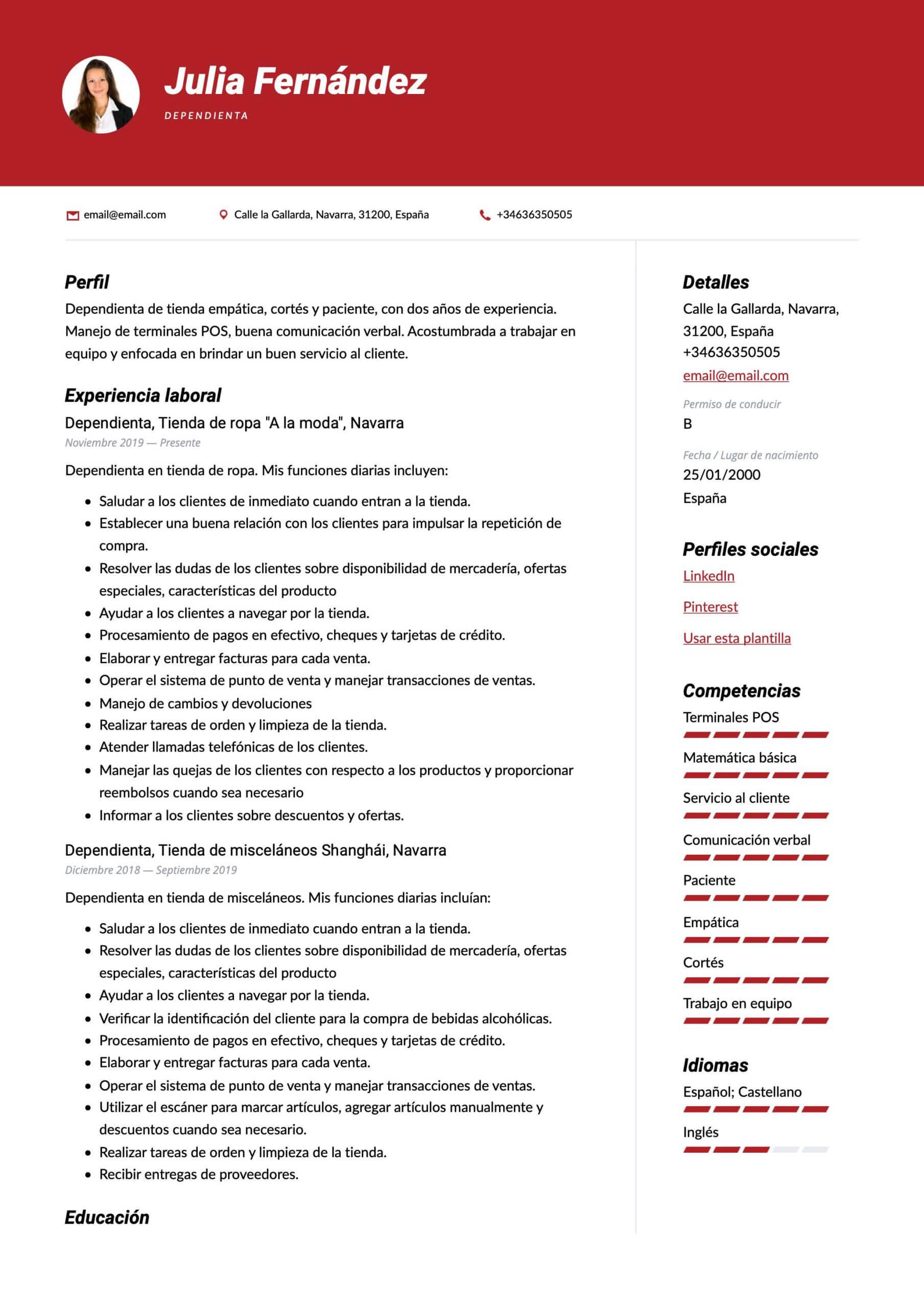 Plantilla de CV para Dependienta