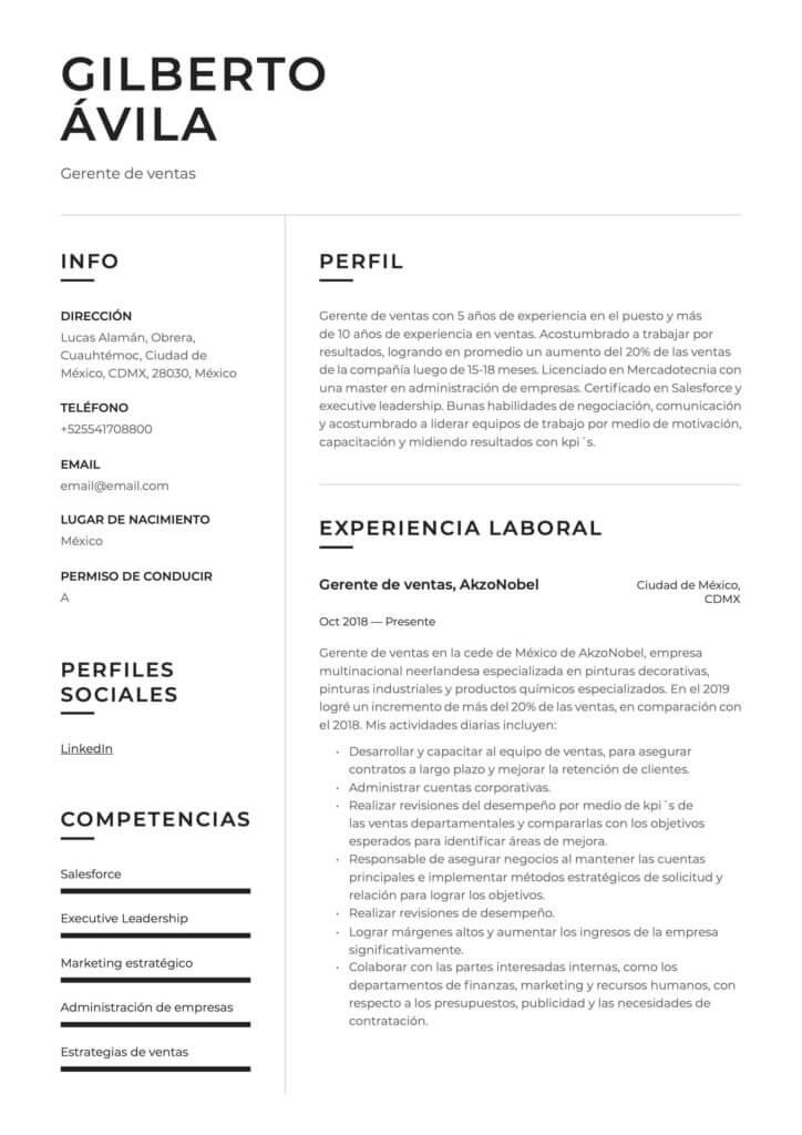 Ejemplo de CV para Gerente de ventas
