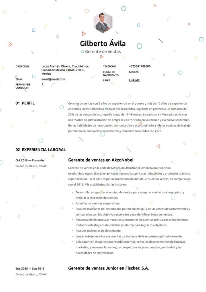 Plantilla de CV para Gerente de ventas