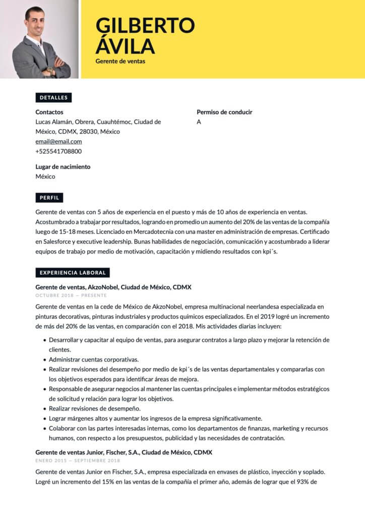 Currículum para Gerente de ventas